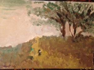 Se detuvo un momento a admirar la pintura, pero se perdió por siglos cuando se descubrió a si mismo, en ese hombre solitario que buscaba inspiración.  (Pintura hecha por Marifer y yo)